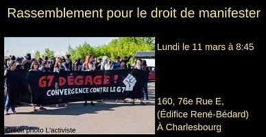 Affichette sur fond noir : photo d'une manifestation dont la bannière du devant, noire, se lit « G7 Dégage !</body></html>