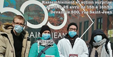Affichette sur rfond d'une photo de quatre membres du ComPop (2 jeunes femmes et 2 jeunes hommes) devant une vitrine indiquant « 500 Saint-Jean » en énormes lettres blanches.  Sauf que les personnes portent des masques médicaux sur la bouche et le nez.