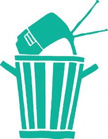 Dessin couleur vert emeraude pâle : un ancien téléviseur est placé dans une corbeille à déchet urbain.