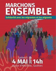 Affiche sur fond rouge-rose (cramoisie) : dessin infographique d'une longue foule marchant. Les ombres des gens au devant sont des couleurs unies, notamment mauve, violet, bleu, brun, gris.