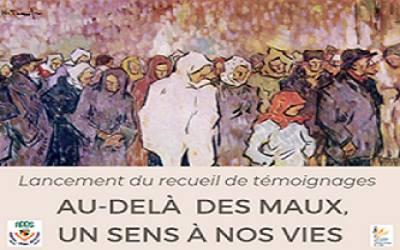 Partie de la page couverture du recueil de témoignages : peinture de milliers de personnes floues, sans visage visible, souvent les regards vers le bas.</body></html>