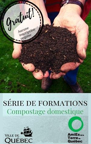 Affichette : deux mains tiennent du sol brun. Série de formations - Compostage domestique. Gratuit ! Aucune inscription. Logo: ATQ & Ville de Québec.