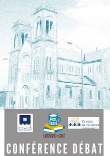 Dessin de l'église Saint-Sacrement en crayon bleu turquoise. Logo : SHQ, Mot Tasse, Conseil de quartier. « conférence débat »