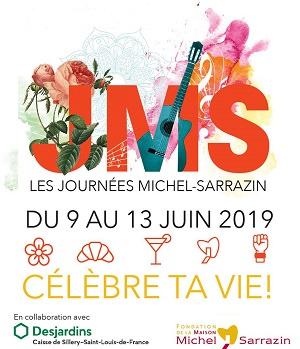 Affichette : JMC, en grandes lettres rouge framboise. Des fleurs, une guitare, une note de musique, autour des lettres. Logo : Caisse Desjardins ; Maison Michel Sarrazin ; resto Saint-Hubert.