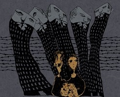 Dessin officiel du film : cinq grattes-ciels forment cinq monsieurs oppressants au-dessus d'une petite famille (parents et deux enfants).</body></html>