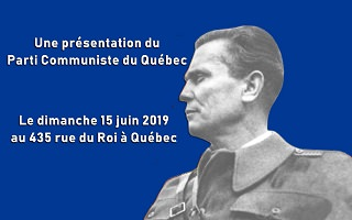 Affichette sur fond bleu foncé : portrait noir et blanc d'un homme vu de profil portant un uniforme militaire, c'est-à-dire Josip Broz Tito en 1942.