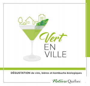 Affichette carrée : dessin d'une coupe de cocktail, verte lime, mais formes de maison et d'arbre au-dessus. « Vert en ville »