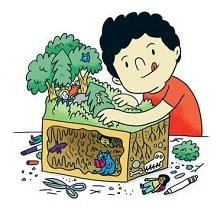 Dessin d'un garçon, la langue sortie, qui bricole une forêt de sapins et de figurines.  Il regarde en même temps un livre affichant des animaux, fossiles, etc..