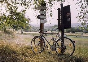 Photo : un vélo est placé le long d'un poteau en bois affichant des directions avec des noms, l'été, dans un paysage de verdure rurale, rappelant l'Europe.