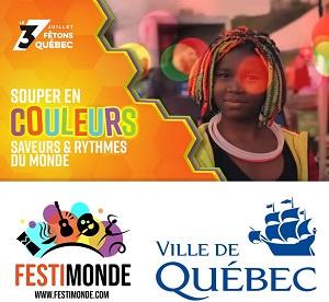Deux affichettes : « Fêtons Québec » et le titre sur fond orange et jaune dégradé. Photo d'une jeune fille à la peau brune et cheveux multicolore. Logo : Festimonde (six icônes en noir et fond multicolore) et Ville de Québec.