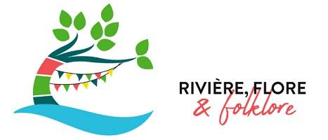 Affichette sur fond blanc : dessin d'un arbre courbé, sur une vague d'eau, avec des guirlandes multicolores.