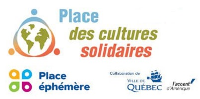 logo de CESIQ et de la Ville de Québec. Le logo de la Places est quatre bulles de couleurs vives différentes.