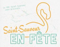 Affichette : contours en jaune d'un cygne. La SDC Saint-Sauveur vous présente Saint-Sauveur en fête.