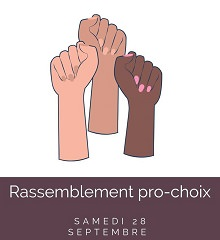 Affichette : trois bras levés, rosé à brun. « Rassemblement pro-choix »