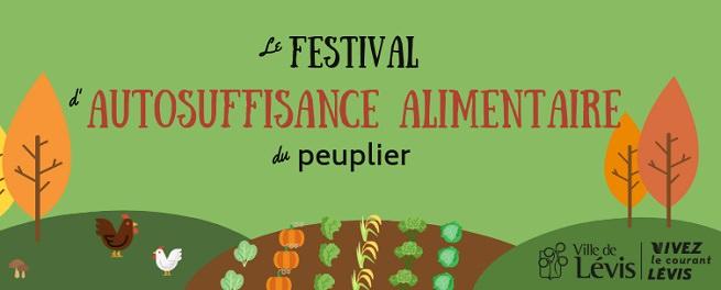 Bannière sur fond vert pomme : dessin de style cartons d'arbres, poules, légumes plantés en terre. Logo : Ville de Lévis.