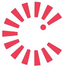 Logo : de courtes et épaisses lignes de couleur rose forment un cercle. Une des lignes forme un point d'exclamation (!).