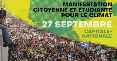 Bannière sur fond d'une photo d'une foule (manifestation) très dense avec pancartes dont un drapeau du Québec. « Manifestation citoyenne et étudiante pour le climat »
