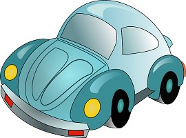 Dessin comique d'une voiture de style coccinelle (Volkswagen) turquoise.