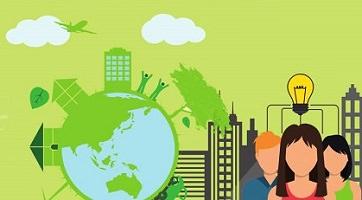 Affichette sur fond vert lime ou pâle : dessin d'une planète bleue avec des immeubles et arbres vert pomme autour. Dessin aussi des gens avec une lumière au-dessus (représentant une idée).