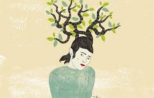 Peinture, sur fond crème beige, d'une jeune femme dont les cheveux sont des branches d'arbres avec feuilles vertes.