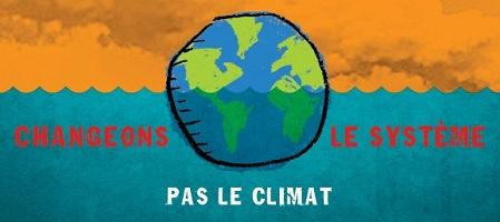 Partie centrale de la bannière 2019 : « Changeons le système, pas le climat ». Dessin comique ou enfantin de la Terre, sur fond de nuages couleur orange et le bas comme de l'eau couleur turquoise.