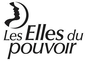 Logo du club Les Elles du pouvoir. Dessin de deux visage de profils identiques, mais juxtaposés un sur l'autre : un blanc, un noir, dans un demi-cercle.