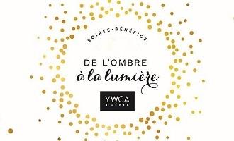 Affichette sur fond blanc : « nuage » circulaire de points jaunes. Titre au milieu avec logo YWCA Québec.