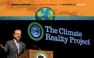 Affichette horizontale: photo d'un homme parlant au micro et, derrière lui, un écran noir avec photo de la Terre et les mots « The Climate Reality Project ». Aussi dessin de la Terre pour les Journées québécoises de la solidarité internationale.