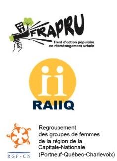 Trois logo : FRAPRU (porte-voix vert avec un immeuble et un arbre) ; RAIIQ (deux ii dans un cercle jaune) ; RFG-CN (cercle orange avec cinq têtes qui tournent dans la même direction).
