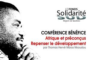 Affichette horizontale sur fond blanc : dessin du visage de M. Mboa Nkoudou.