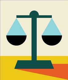 Image : dessin bleu d'une balance, symbole de justice, équilibré.