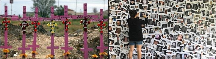 Deux photos : 1) champ avec sept croix rose, mais sept autres petites croix dessous, avec des fleurs. Surtout, des noms sur les croix : Lupita, Esmeralda, Veronica, etc. 2) Murale de milliers de photos (portraits) de femmes autochtones disparues.