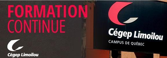 Affichette tirée du site officiel : « Formation continue » en grandes lettres roses. Photo de l'écriteau externe du CÉGEP Limoilou.