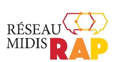 Logo : Réseau midis RAP. Le R est rouge ; le A orange ; le P jaune. Au-dessus, comme des bulles de pensées, mais hexagonales, et jointes ensemble sur six points convergents.