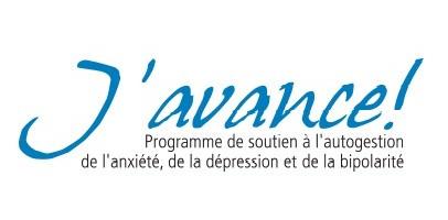 Logo : « J'avance ! » en lettres bleu ciel manuscript. « Programme de soutien à l'autogestion de l'anxiété, de la dépression et de la bipolarité.