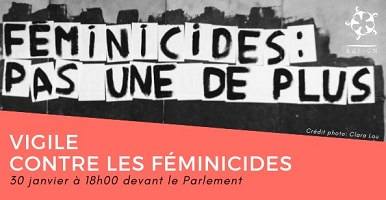 Affichette : peinture de couleur noir ressemblant à l'ombre d'une ville avec les mots « Féminicides : pas une de plus »