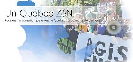 Affichette sur fond d'une photo floue de jeunes manifestant. On discerne une jeune parlant dans une porte-voix. La bannière parle d'agir..