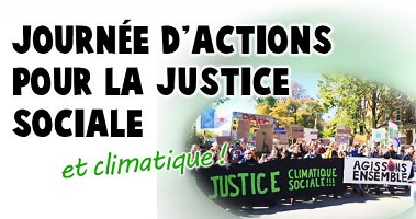 Affichette : le titre en grandes lettres noires, sauf « et climatique » qui est en vert. Photo floue d'une foule tenant deux bannières « Justice climatique sociale !!! » et « Agissons ensemble ».
