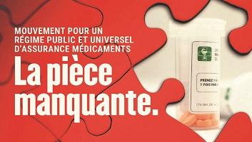 Affichette : un casse-tête rouge, un morceau manque, au-travers lequel on voit une petite bouteille d'un médicament.