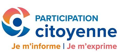 Bannière sur fond blanc : sphère découpée en quatre morceaux avec un cercle au milieu. « Participation citoyenne - Je m'informe. Je m'exprime. »
