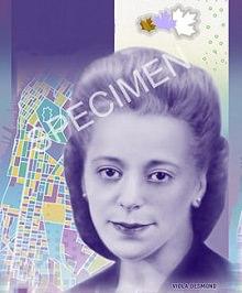 Spécimen du 10 $ canadien : portrait violet de Viola Desmond. Coiffure attachée vers l'arrière ; regard serein.