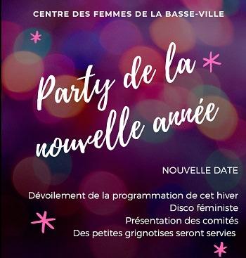 Affichette sur fond de bulles floues mauve et violet. « Party de la nouvelle année ». Les détails sont dans l'annonce : 6 février 2020.