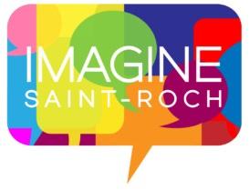 Logo projet Imagine Saint-Roch : une bulle de paroles, mais divisée en multiples sections de couleurs différentes.