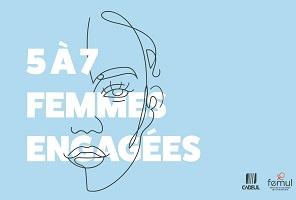 Affichette sur fond bleu poudre : dessin à trait simple et fin d'un visage féminin. Logo des deux associations.