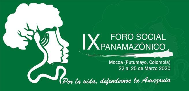 Affichette officielle : sur fond vert forêt, dessin en ombres blanches de deux visages de profil, superposés, dont les cheveux ressemblent aux feuilles d'un grand arbre.  Des racines en filigrane se promènent sur l'affiche. « Por la vida, defendemos la Amazonia »