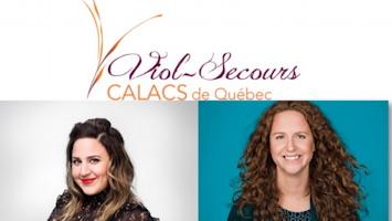 Affichette : logo Viol-Secours. Le V est élancé et orange. Portraits des deux humoristes : femmes, cheveux longs, souriante.