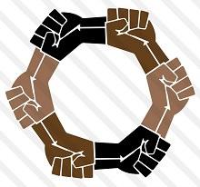 Symbole : ressemble à un rouage mécanique, mais composé de six mains : deux noirs, deux brunes et deux rosées.