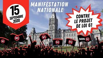 Affichette : ombre d'une foule devant la photo de l'Assemblée nationale du Québec, tenant de bannières « Non 61 »..