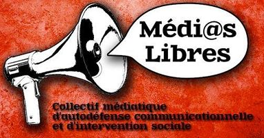 Logo sur fond rouge marbré : un porte-voix avec une bulle de paroles « Médias Libres - Collectif médiatique d'autodéfense communicationnelle et d'intervention sociale ».