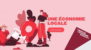 Affichette sur fond rose : dessin d'un homme arrosant le sol et un autre personnage aux cheveux longs avec une pelle. Gros marqueur positionnel comme sur une carte. « Une économie locale ».